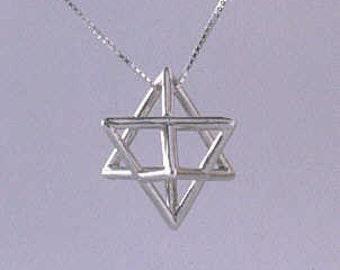 Very Large Silver Merkaba Pendant- star tetrahedron necklace- spiritual gift Merkaba charm