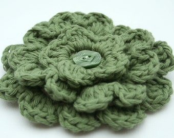 Flower Corsage / Brooch - Green Cotton