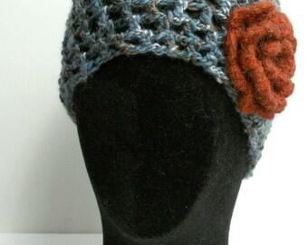 Beanie Hat - Dappled Blue with Flower