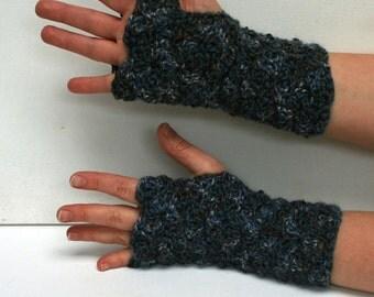 Fingerless Gloves Wristwarmers -Dappled Blue