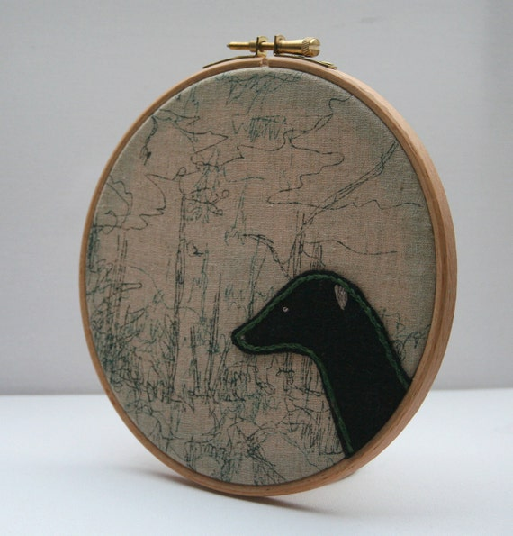 Embroidery Hoop Art -  Abstract Greyhound
