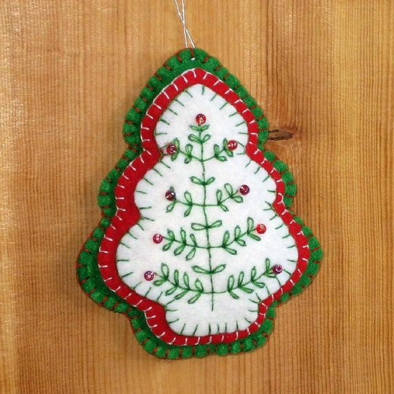 Felt Christmas Tree Ornament Red Green Beaded