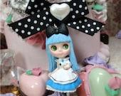 Blythe Alice in WOnderland blue doll Necklace girl shabby chic black bow pearl filigree white bunny rabbit vintage style creepy steampunk