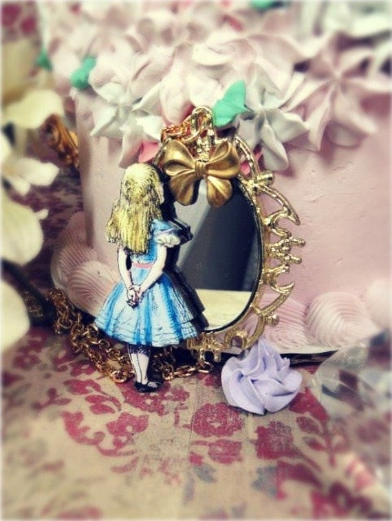 ALICE in Wonderland  - Through the Looking Glass Real MIRROR necklace gold bow vintage victorian filigree scrollwork little girl doll  blue pink yellow storybook fairytale glam neovictorian lolita princess  fantasy