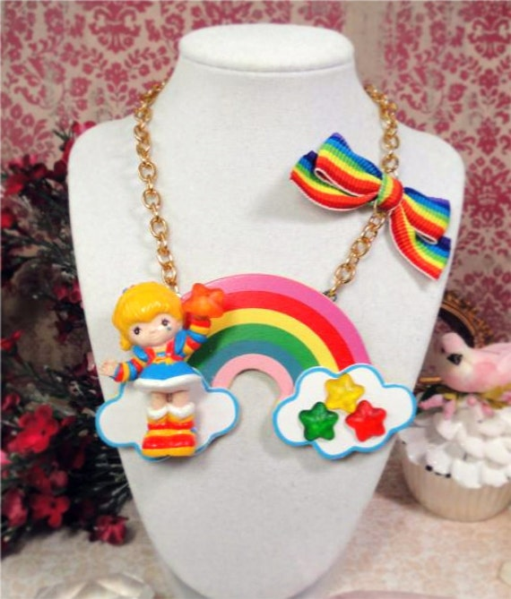 Rainbow Brite Huge Vintage Doll Statement NECKLACE retro 80s eighties toy figure star bow raver chunky emo scene lolita kawaii kitsch