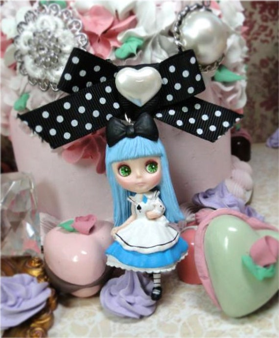 Blythe Alice in WOnderland blue doll Necklace girl shabby chic black bow pearl filigree white bunny rabbit vintage style creepy steampunk