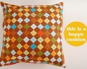 Decorative Pillow cover - Cushion Cover Rhombus- Decorative throw pillow - Colorful pillow case - Sofa pillow  - Brown pillow cover