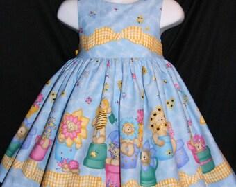 Daisy Kingdom Garden Bears Dress Custom Size