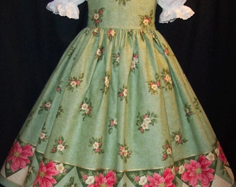 Poinsettia Border on Green CHRISTMAS Dress