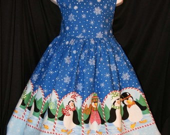PENGUIN Border CHRISTMAS Dress CUSTOM Size
