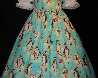 Christmas PENGUINS Dress CUSTOM Size