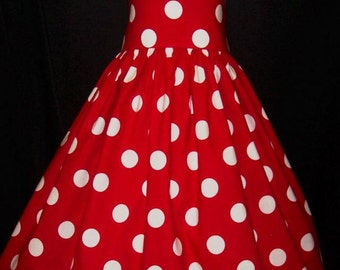 Red/White DOT Halter Dress