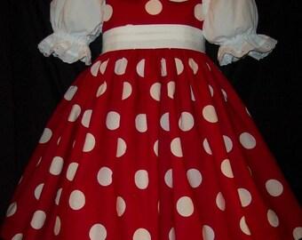 RED/white DOT Jumper Dress CUSTOM Size