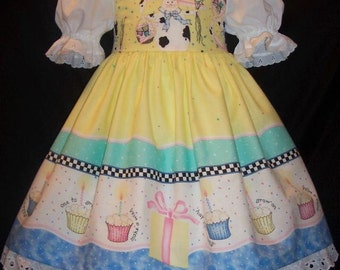 DAISY KINGDOM fabric BIRTHDAY Bunny Dress Custom Size
