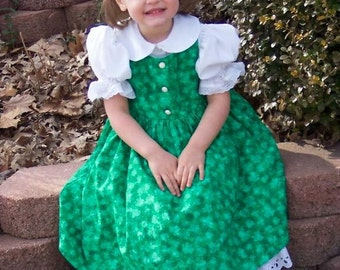 St. Patrick's Day SPARKLY Green SHAMROCKS Dress Custom Size