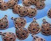 Filigree Teardrops, 24 Copper Filigree, Tiny Antique Copper Filigree Drops, Jewelry Supplies, Bohemian Supplies, Filigree Findings