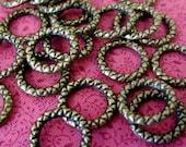 Brass Textured Rings, Antique Brass Textured Rings, 12mm rings, Brass Rings, Bohemian Findings, Bohemian Supplies