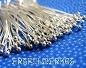 Silver Headpins with Ball, Silver head pin, Silver Ball Head Pin, Silver Plated Headpin with Ball, Silver Plated headpin,