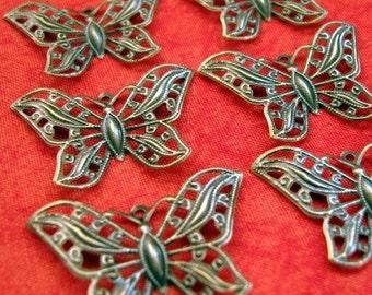 12 Little Filigree Butterflies, antique brass, bronze, butterfly, bendable, flexible
