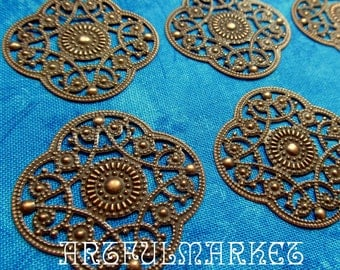Filigree Crest, Antique Copper...6, stamping, jewelry finding