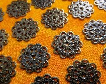 Small Round Filigree, Antique Brass Petite Round Filigree, Bronze Filigree,Filigree Findings,Stamping, Bulk Jewelry Findings,24-100