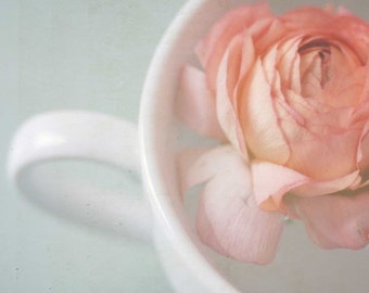 Flower photograph . pink . white . tea cup . cottage style decor . wall art . fine art photography . pastel . for her . bloom . still life