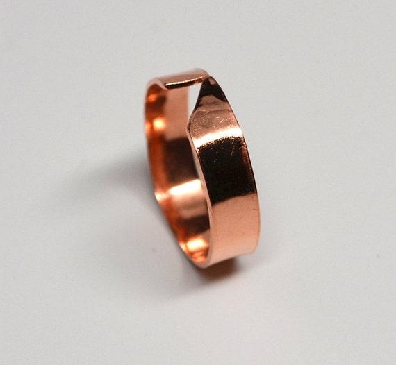 Angular narrow band ladies hammered copper ring