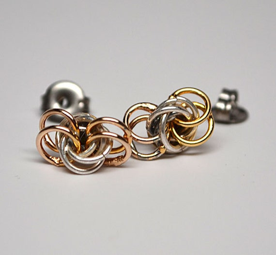 Sterling silver and vermeil messy knot chainmaille stud style earrings