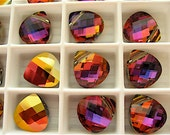 2 Crystal Volcano Swarovski Crystal Pendants Briolette 6012 11mm