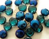 50 Teal - Iris Blue Czech Glass Top Drilled Lentils 6mm