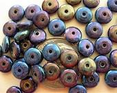 100 Blue Iris Czech Glass Rondelle Spacer Beads 6mm