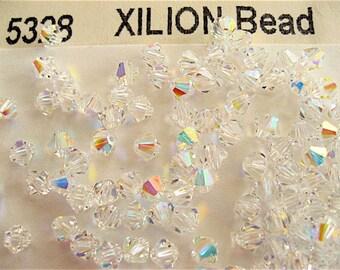 48 Clear Crystal AB Swarovski Crystals Bicone 5328 4mm
