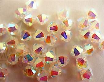 48 Clear Crystal AB2X Swarovski Beads Bicone 5328 4mm