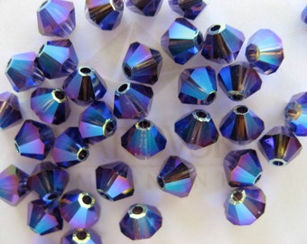 24 Purple Velvet AB2X Swarovski Crystal Beads Bicone 5328 4mm