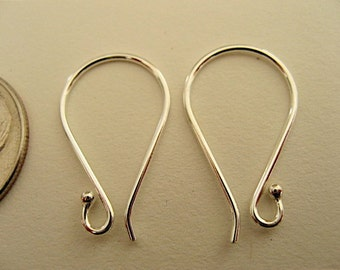 3 Pair Bali Sterling 1 Dot Wire Earwires 21mm