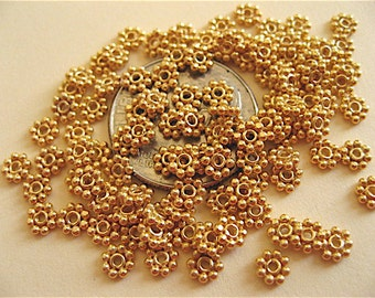25 Bali Sterling Silver Vermeil Daisy Spacer Beads 3.5mm