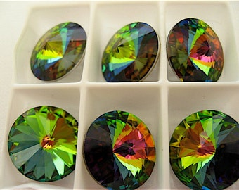 6 Crystal Vitrail Medium Swarovski  Rivoli Stone 1122 14mm