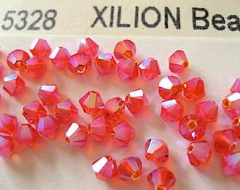 24 Hyacinth AB2X Swarovski Crystal Beads Bicone 5328 4mm