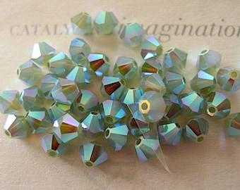 24 Pacific Opal AB2X Swarovski Crystal Beads Bicone 5328 4mm