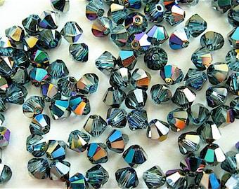 24 Aquamarine Green Sphinx Swarovski Crystal Beads Bicone 5328 4mm
