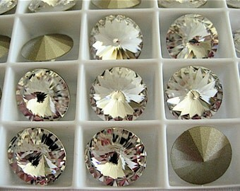 12 Clear Crystal Foiled Swarovski  Rivoli Stone 1122 12mm