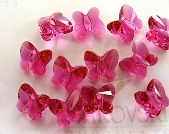 24 Fuchsia Swarovski Crystal Butterfly Beads 5754 6mm