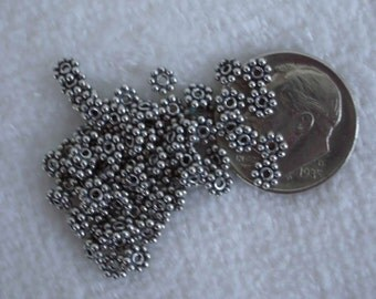 100 Bali Sterling Silver Daisy Spacer Beads 4mm