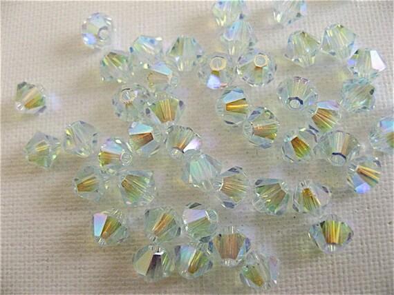 24 Light Azore AB2X Swarovski Crystal Beads Bicone 5328 4mm