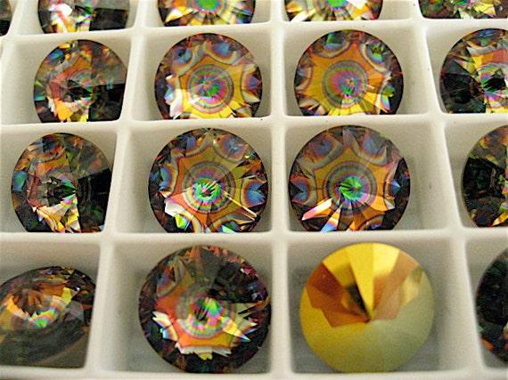 6 Crystal Peacock Eye Swarovski  Rivoli Stone 1122 12mm