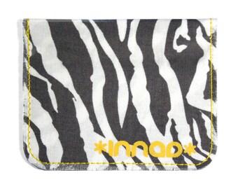 Charcoal Grey White Zebra Cotton / Vinyl Wallet