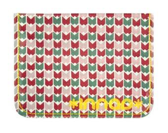 Plum Mauve Grey Geometric Bat Fabric / Vinyl Wallet