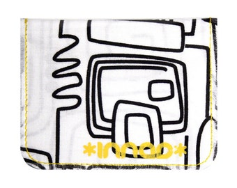 Black White Squiggle Circuit Cotton / Vinyl Wallet