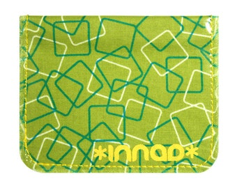 Chartreuse Teal White Squares Cotton / Vinyl Wallet