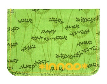 Chartreuse Forest Green Queen Anne's Lace Cotton / Vinyl Wallet